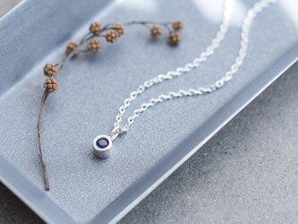 天然サファイア 極小 一粒 ネックレス シルバー925の画像