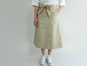ゆったりsizeウエストマークチノフレアースカート<ベージュ>の画像