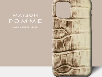 クロコダイル iPhone 用 ケース【クリームブラウン】iPhone対応 受注生産 ヒマラヤの画像