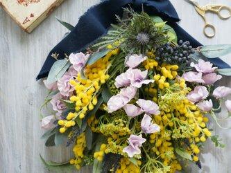 ミモザのスワッグ L(造花) 53x33の画像