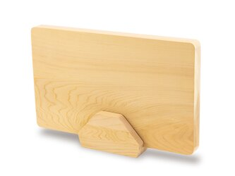 削り直し無料 カビに強い 青森ヒバのまな板&まな板立てセット  一枚板 巾245〜270mm 長さ400mmの画像