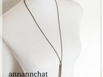 ブラック×ゴールド  揺れる  シンプルな ロングネックレスの画像