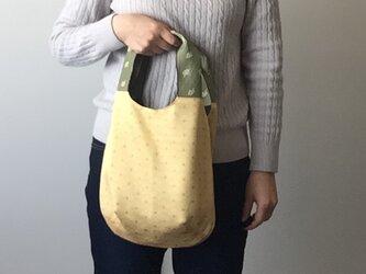 着物地の手提げバッグ 黄扇の画像