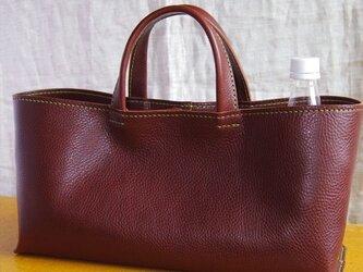 【ぶりねこ様オーダー品】牛革のしっかり横長トートバッグ(チョコ色・L)の画像