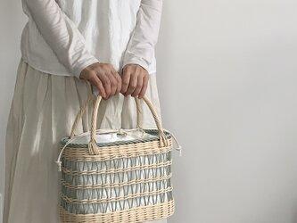 透かし編みカゴバッグ(ブルーグリーン)の画像