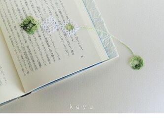 しおり まるしかく(緑色+白) / タティングレースの画像