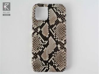 他機種OK☆iPhone12用スマホケース ナチュラルパイソン ヘビ柄 本革の画像