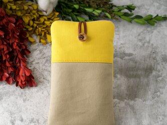 スマホポーチ イエロー 黄色 シナモンベージュ 帆布 本革の画像