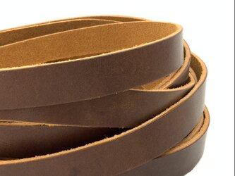 平革紐 15mm巾× 約68cm   クラッシュレザー ブラウンの画像