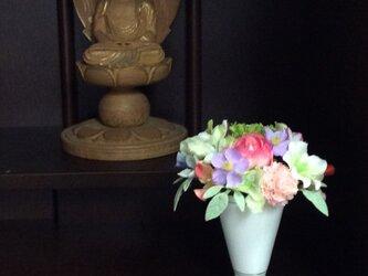 小さな真珠の涙  (仏花ミニサイズ)   (仏花、造花、お供え、お盆、お彼岸、敬老の日)の画像