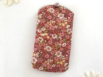 スマホケース 花柄 赤の画像