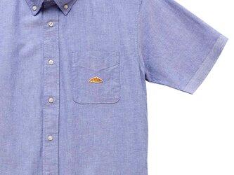 ボタンダウンショートスリーブシャツ【サックスブルー】;クロワッサン刺繍付きの画像
