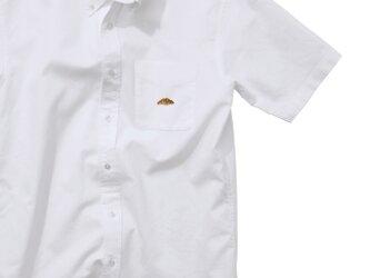 ボタンダウンショートスリーブシャツ【ホワイト】;クロワッサン刺繍付きの画像
