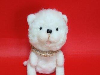 白いワンちゃん(羊毛フェルト)の画像