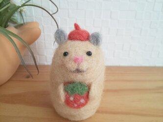 イチゴ大好き つぶらな瞳のキンクマハムスター 羊毛フェルトの画像