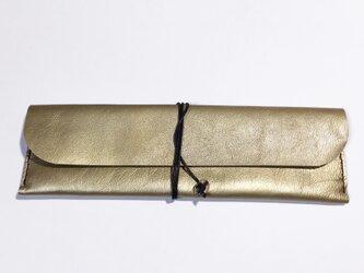 山羊革のペンケース(ゴールド×ブラック)の画像