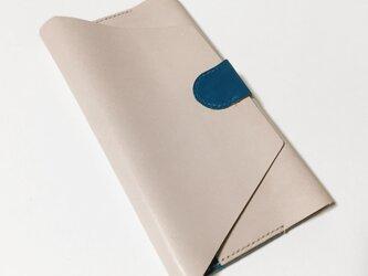 牛革のオーガナイザー(ナチュラル×ブルー)の画像