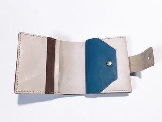 牛革のお財布(ナチュラル×ブルー×ブラウン)の画像