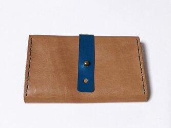 牛革のカードケース(ブラウン×ブルー)の画像