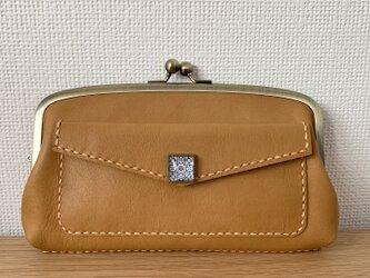 【送料無料】外ポッケが付いた、本革親子がま長財布(きつね色レザー)の画像