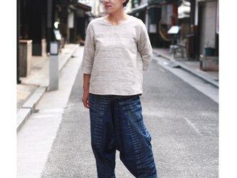 【春の新作】インディゴ染め イカット(絣) サルエルパンツ M  ユニセックスの画像