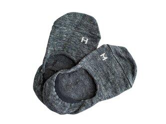 Homie / H-046 / リネン フットカバー(スミクロ)の画像