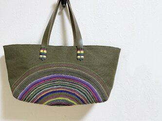 からふる円編み模様のジュートかばんの画像