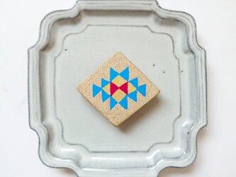 キリム柄5(星) 陶土ブローチの画像