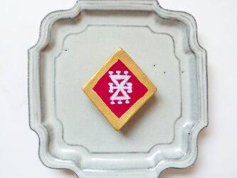 キリム柄6(髪飾り) 陶土ブローチの画像