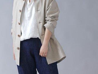【M】【wafu】男女兼用 中厚リネン カバーオール 先染めリネン ワークジャケット/亜麻ナチュラル h031c-amn2-Mの画像