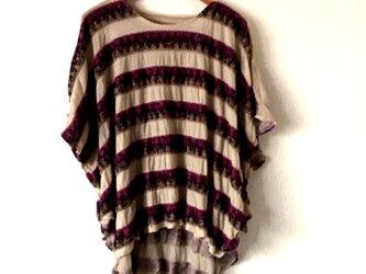 変わり織りボーダー前後差ポンチョ風ゆったりTシャツベージュFの画像
