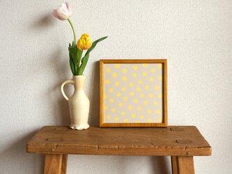 「mimosa dot(beige grey & yellow)」20cm角ポスターの画像