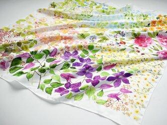 シルクツイルスカーフ「garden」の画像