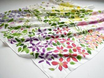 シルクツイルスカーフ「clematis garden」の画像