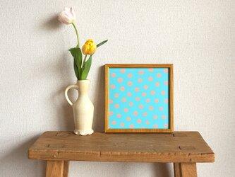 「mimosa dot(blue & coral)」20cm角ポスターの画像