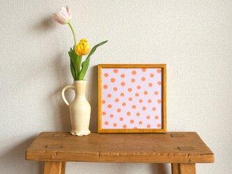 「mimosa dot(lilac & orange)」20cm角ポスターの画像