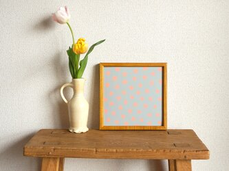 「mimosa dot(grey & coral)」20cm角ポスターの画像