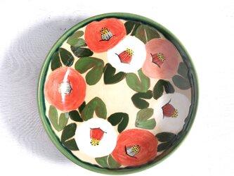 紅白桃色の椿の大皿の画像