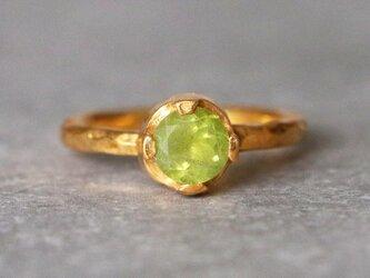 古代スタイル*天然ペリドット 指輪*9号 GPの画像