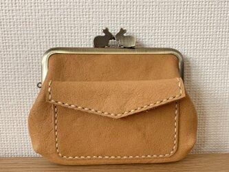 【送料無料】ぱかっと開くとお部屋が3つの親子がまぐち♪外ポッケが付いたうさぎ口金の四角い本革ミニ財布の画像