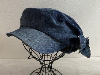 リボンdenimのキャスケット(ブルー58)の画像