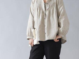 【wafu】やや薄手 リネン  ピンタックブラウス スタンドカラー/亜麻ナチュラル t006b-amn1の画像