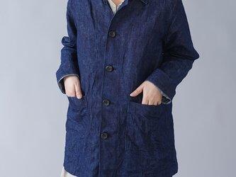 【Mサイズ】【wafu】男女兼用 リネンデニム カバーオール ワークジャケット 色落ちあり/インディゴ h031c-ind3の画像