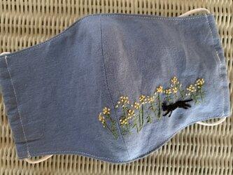 マスク 黒猫と菜の花の画像