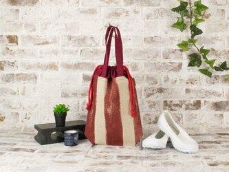 かすれボーダーのシューズバッグ(上履き袋):ボルドーの画像