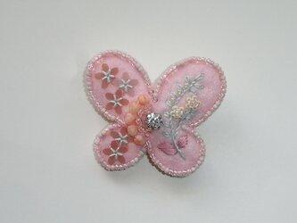 花蝶+パステル ビーズ刺繍ブローチの画像