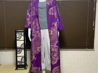 春から羽織れる着物から作ったローブ 若紫の画像
