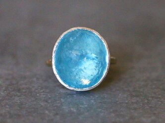 古代スタイル*天然アクアマリン 指輪*8号 10KGの画像