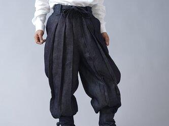 【wafu】岡山リネンデニム linen100%  ninja 忍者パンツ 男女兼用/ダークインディゴ b005c-din3の画像