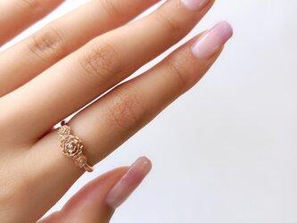 K18 Gold Filled ローズリング with ダイヤモンドの画像